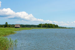 Lonely house at the bodden Royalty Free Stock Photography