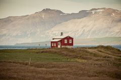 Lonely House at coastline in North Iceland Stock Photography