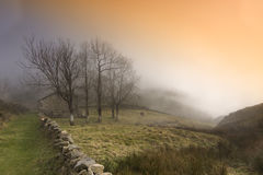 Lonely house in the fog. (Cantabrian mountain range,Spain Stock Image
