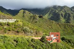 Lonely house and green mountains Tenerife Canary Islands stock photos