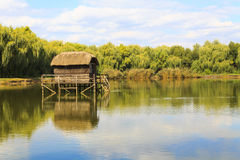 Lonely house by the lake. Hungary Stock Photo