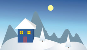 Lonely house in the mountain. Illustration of winter landscape with lonely house Royalty Free Illustration