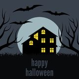A lonely house at night in front of the Moon. Vector background for Halloween Stock Image