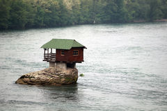 Lonely house on the river Drina. In Bajina Basta, Serbia royalty free stock image