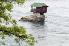 Lonely house on the river Drina stock image