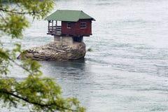 Lonely house on the river Drina. In Bajina Basta, Serbia stock photos