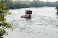 Lonely house on the river Drina royalty free stock photos