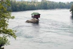 Lonely house on the river Drina. In Bajina Basta, Serbia royalty free stock photos