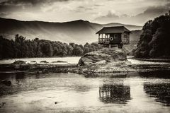 Lonely house on the river Drina in Bajina Basta, Serbia royalty free stock photos