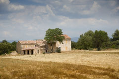 Lonely house stands in the middle of a field in Provence Royalty Free Stock Image