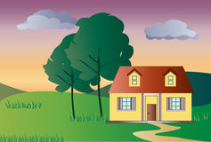 The lonely house at the sunset Royalty Free Stock Images