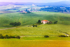 Lonely house in Tuscany landscape, Italy Royalty Free Stock Photography