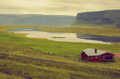 Lonely house. It is very easy to say somewhere in the middle of nowhere in Iceland Stock Photo