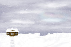 Lonely house on winter sky background. Snow, winter, snowdrifts Royalty Free Stock Photography
