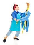 Lonely Housewife. Or maid dancing with her broom, imagining it is a man.  Full body isolated on white Stock Photography