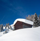 Lonely hunting snowbound lodge Stock Image