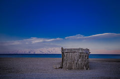 Lonely hut. Lonely tourist hut on the beach of Red Sea Royalty Free Stock Photography