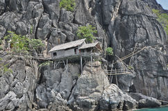 A lonely hut on the rock mountain Stock Image