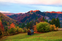 Lonely hut stands high in the mountain meadow. Royalty Free Stock Photography