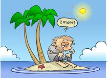 Lonely island. A hot sun shining on a shaggy toon guy stranded on an island Royalty Free Stock Image