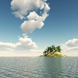 Lonely Island. 3D illustration of an island in the sea with palm trees. Cloudy sky in the background Royalty Free Stock Images