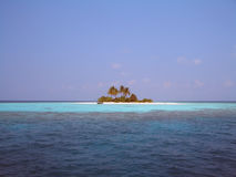 Lonely island. A little sandy island in Maldives Stock Image