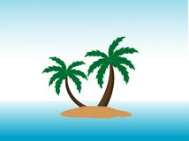 Lonely island. Trees on island in middle of sea with abstract background Stock Photo