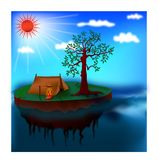 Lonely  island camping. On the day sea blue sky art abstract vector design sun red light Royalty Free Stock Images