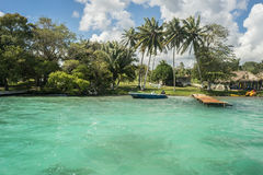 Lonely Island 2. Green tropical island in shallow blue waters Royalty Free Stock Photography