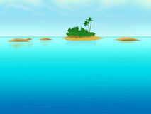 Lonely island with palm-trees in the sea. Royalty Free Stock Photography