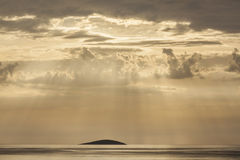 Lonely island in sunrays Stock Images