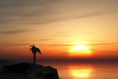 Lonely island at sunset. Sunset at sea, island, palm tree and sunset Stock Photography