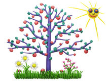 The lonely isolated plasticine apple-tree Royalty Free Stock Photography