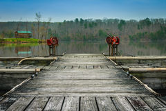 Lonely Lake Dock. Boat dock at Deam Lake State Recreation Area in southern Indiana Royalty Free Stock Images