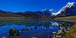 Lonely Lake, Gurudongmar, Himalayan region stock photo