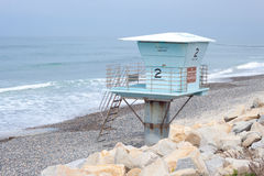 Lonely lifeguard tower on beach royalty free stock photography