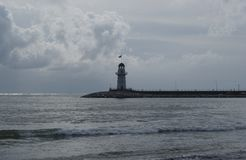 Lonely lighthouse in the Bay of Alanya, Turkey. royalty free stock photo