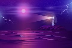 Lonely lighthouse on rocky cliff cartoon vector royalty free illustration