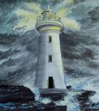 Lonely lighthouse. Storm. Waves crashing on the stones. royalty free stock images