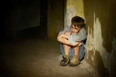 Lonely little boy Stock Photos