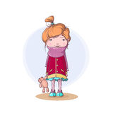 Lonely little girl holding her teddy bear - cute vector illustration Stock Photography