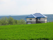 Lonely living house in middle of green meadow Stock Photo
