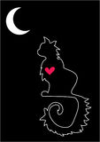 Lonely loving cat. Vector outline image of a cat with a heart inside Stock Photos