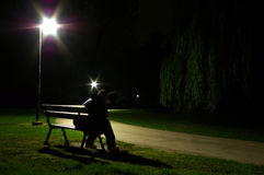 Lonely Man At Night Stock Photos