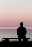Lonely man on bench Royalty Free Stock Photos
