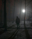 Lonely man in the fog at night Royalty Free Stock Images