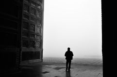 Lonely man with the foggy morning Royalty Free Stock Images
