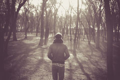 Lonely man. In a forest Royalty Free Stock Image