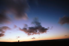 A lonely man on the moor. This was taken by myself at a very cold morning on the moor Stock Photo