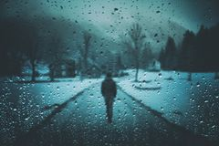 Free Lonely Man On Road With Raindrops Background Stock Images - 122849324